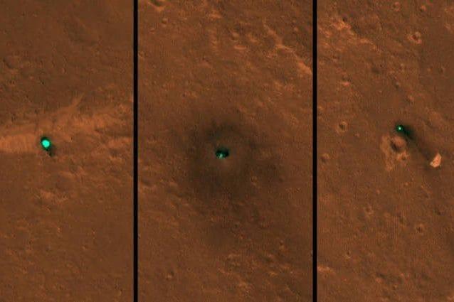 Il lander InSight della NASA sulla superficie di Marte fotografato dalla telecamera HiRISE a bordo della Mars Reconnaissance Orbiter della NASA. Credits: NASA/JPL–Caltech/University of Arizona
